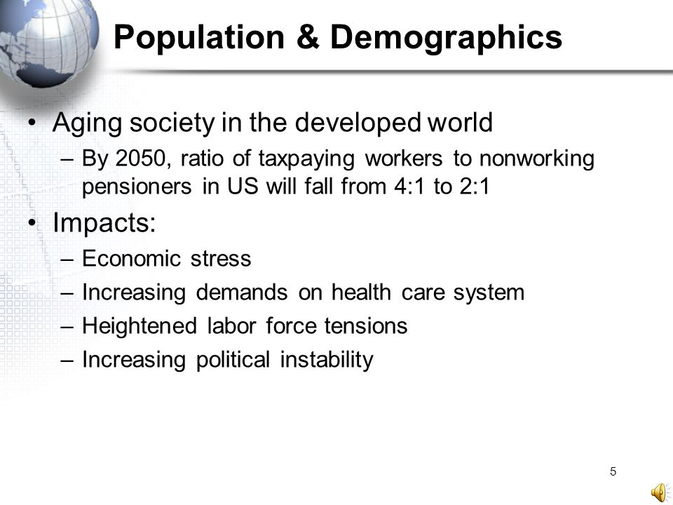 5 Population & Demographics Aging society in the developed world –By 2050, ratio of taxpaying workers to nonworking pensioners in US will fall from 4: