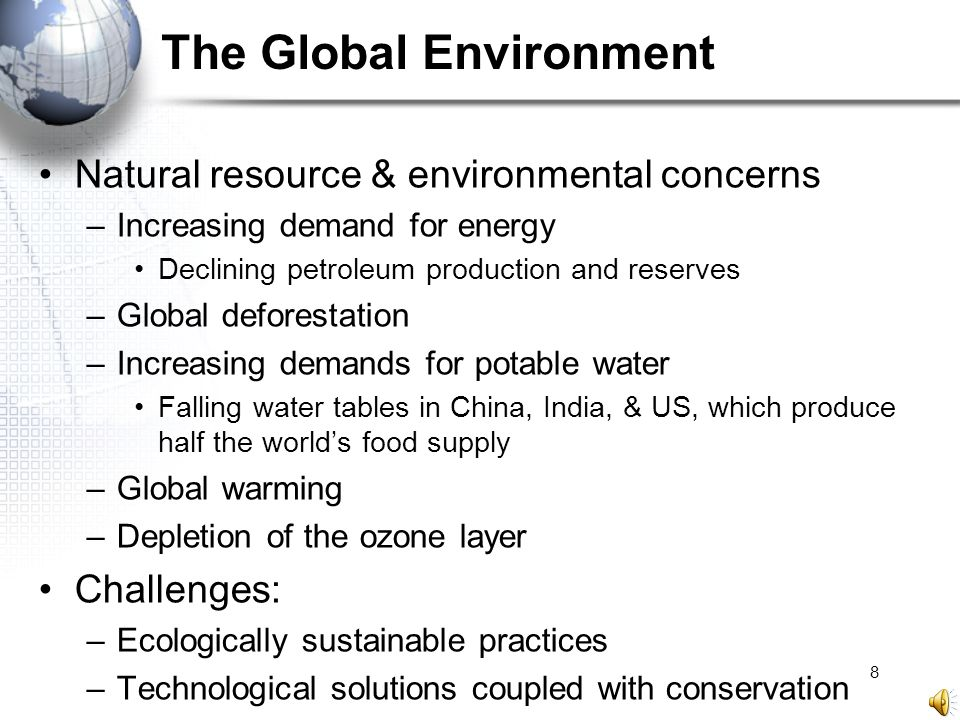 8 The Global Environment Natural resource & environmental concerns –Increasing demand for energy Declining petroleum production and reserves –Global d