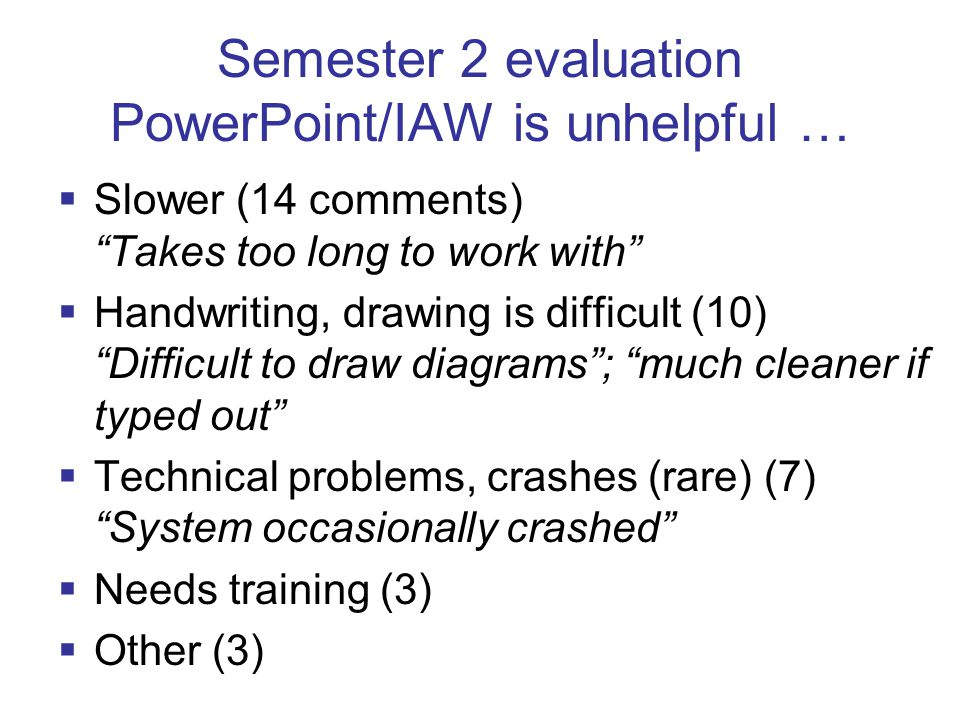 Semester 2 evaluation PowerPoint/IAW is unhelpful …  Slower (14 comments) Takes too long to work with  Handwriting, drawing is difficult (10) Difficult to draw diagrams ; much cleaner if typed out  Technical problems, crashes (rare) (7) System occasionally crashed  Needs training (3)  Other (3)