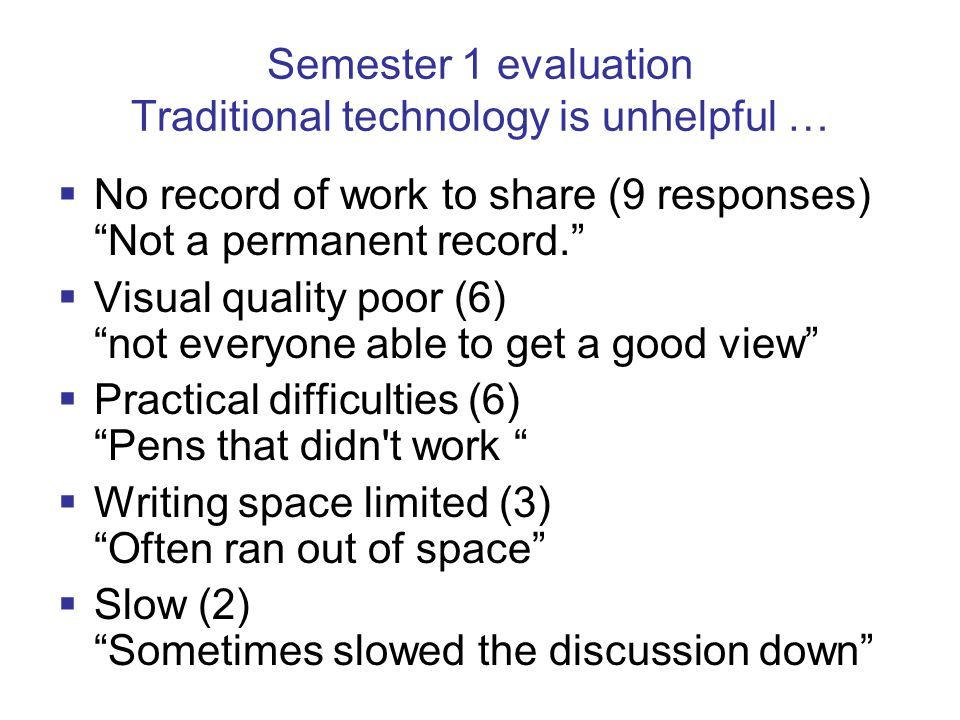 Semester 1 evaluation Traditional technology is unhelpful …  No record of work to share (9 responses) Not a permanent record.  Visual quality poor (6) not everyone able to get a good view  Practical difficulties (6) Pens that didn t work  Writing space limited (3) Often ran out of space  Slow (2) Sometimes slowed the discussion down