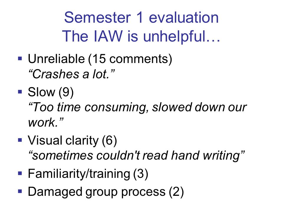 Semester 1 evaluation The IAW is unhelpful…  Unreliable (15 comments) Crashes a lot.  Slow (9) Too time consuming, slowed down our work.  Visual clarity (6) sometimes couldn t read hand writing  Familiarity/training (3)  Damaged group process (2)