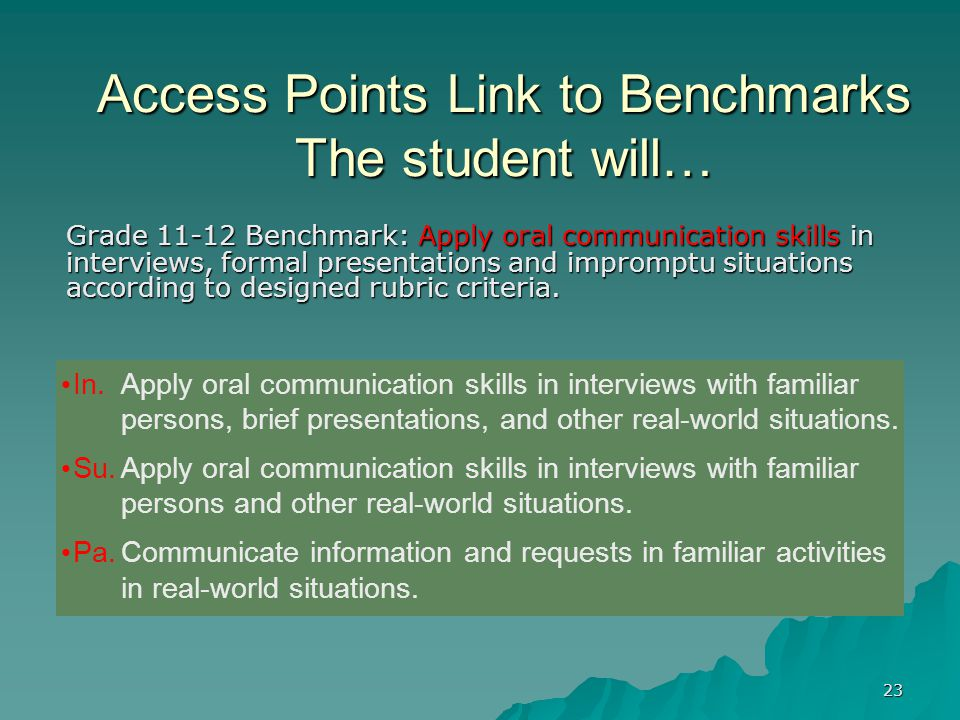 23 Access Points Link to Benchmarks The student will… Grade 11-12 Benchmark: Apply oral communication skills in interviews, formal presentations and impromptu situations according to designed rubric criteria.