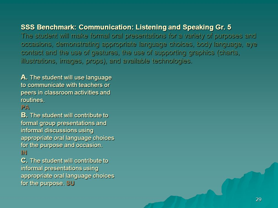 29 SSS Benchmark: Communication: Listening and Speaking Gr.