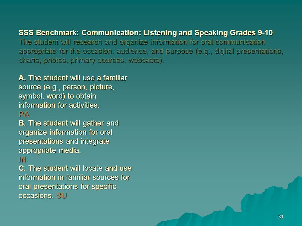 31 SSS Benchmark: Communication: Listening and Speaking Grades 9-10 The student will research and organize information for oral communication appropriate for the occasion, audience, and purpose (e.g., digital presentations, charts, photos, primary sources, webcasts).