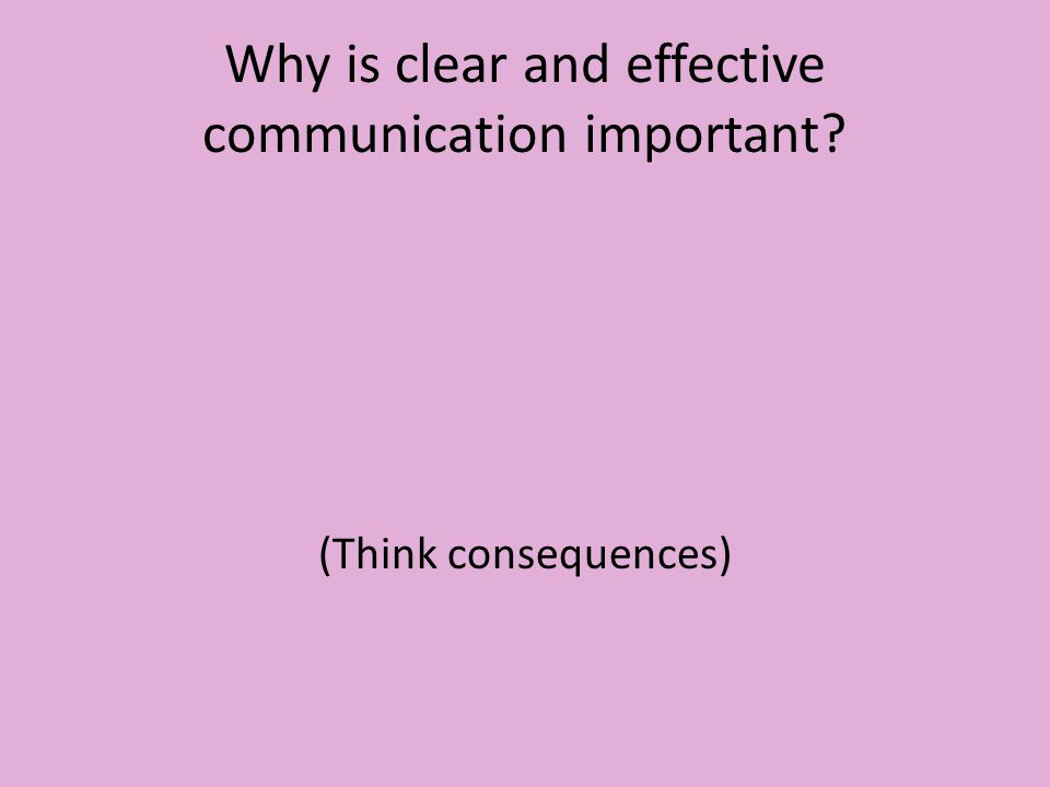 Why is clear and effective communication important (Think consequences)