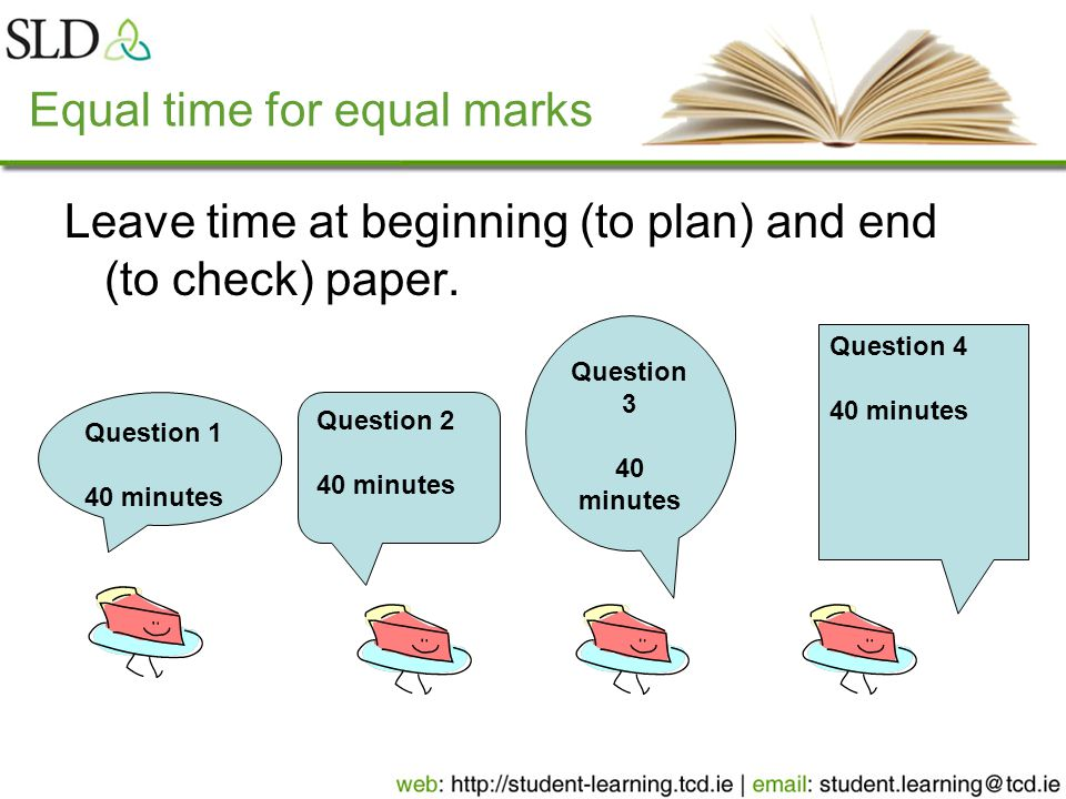 Equal time for equal marks Leave time at beginning (to plan) and end (to check) paper.
