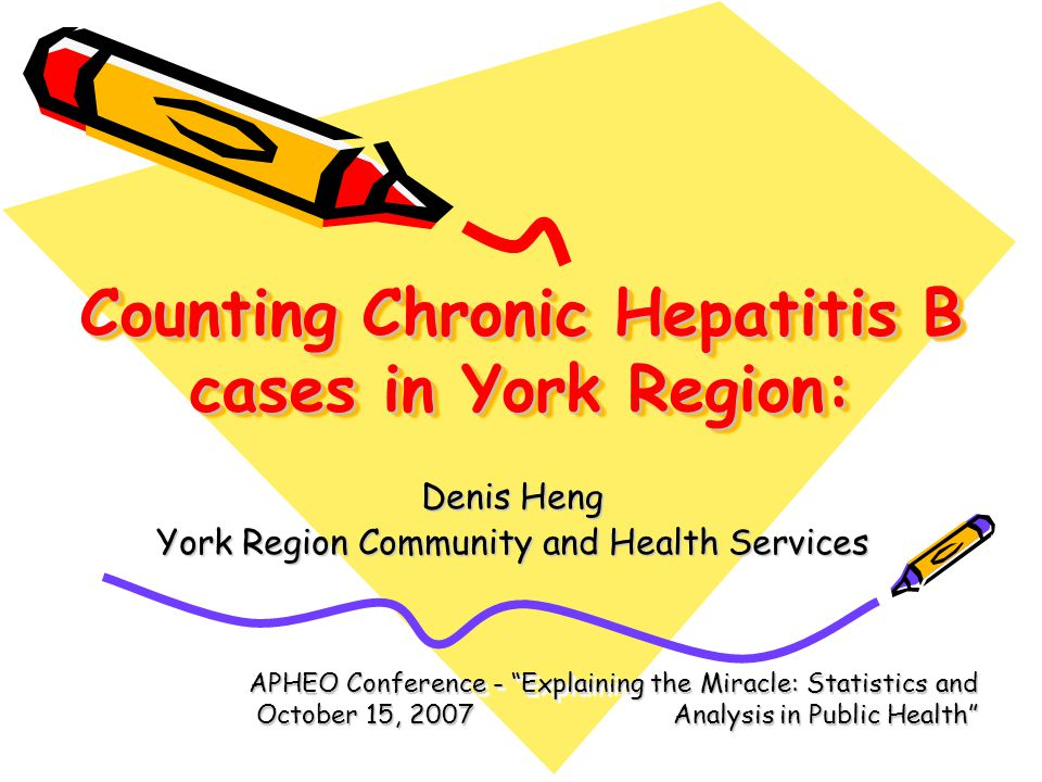 Counting Chronic Hepatitis B cases in York Region: Denis Heng York Region Community and Health Services APHEO Conference - Explaining the Miracle: Statistics and October 15, 2007 Analysis in Public Health