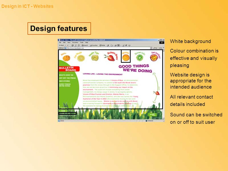 Design features Design in ICT - Websites Colour combination is effective and visually pleasing Website design is appropriate for the intended audience