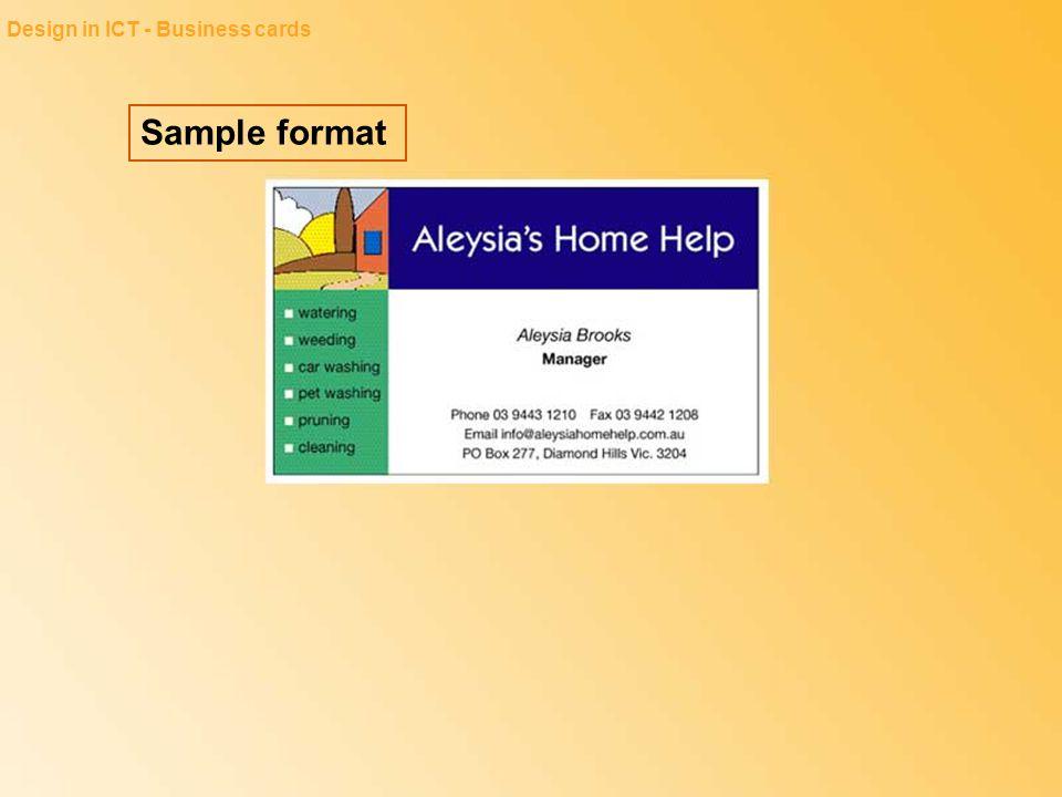 Sample format Design in ICT - Business cards