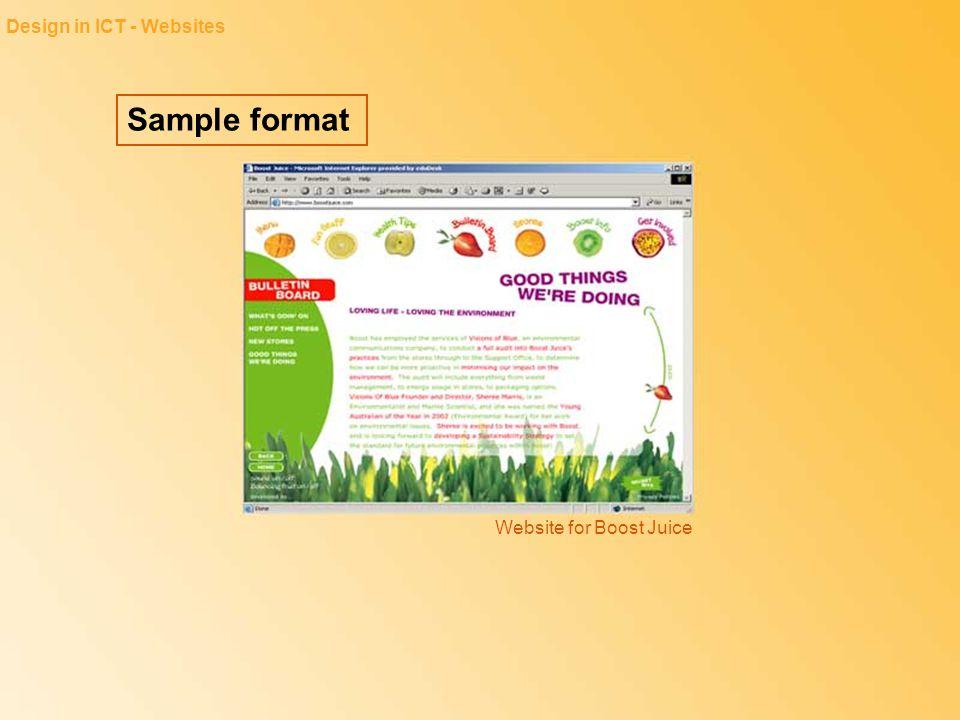 Sample format Design in ICT - Websites Website for Boost Juice