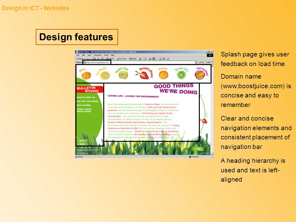Design features Design in ICT - Résumés Indented text helps to distinguish the sections, making them easier to locate The entries are in chronological order, starting with the most current date The size and placement of the name and contact details helps to draw the reader onto the page