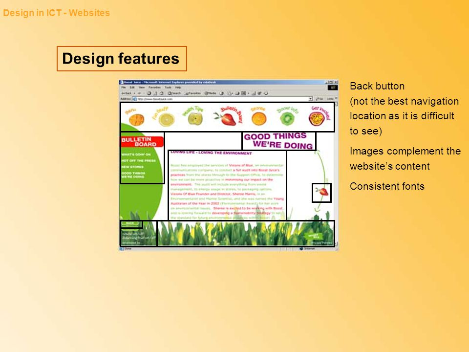 Design features Design in ICT - Slideshows Slides have no more than four to six main points The design reflects the purpose of the slide show: to inform, persuade, educate and/or entertain A hierarchy for bullets has been used