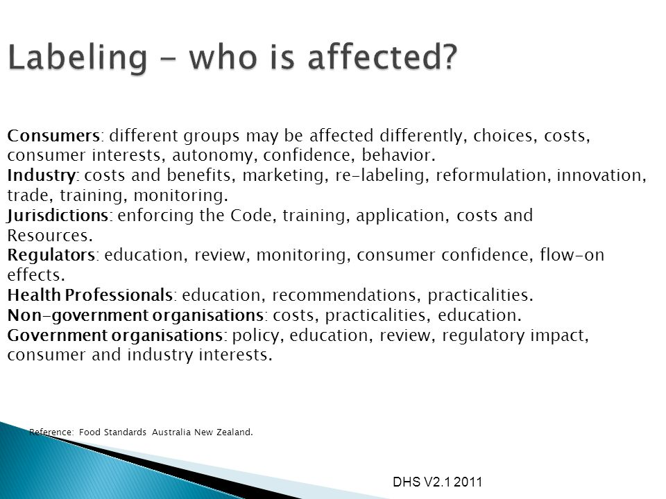 DHS V2.1 2011 Consumers: different groups may be affected differently, choices, costs, consumer interests, autonomy, confidence, behavior. Industry: c