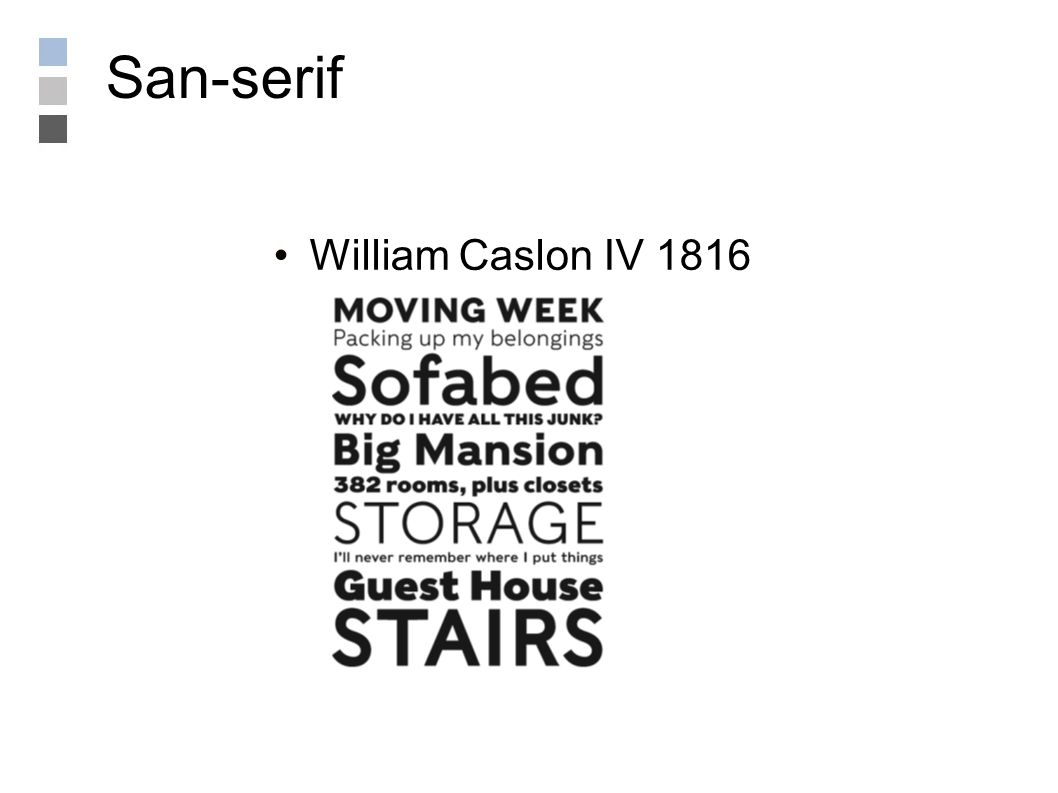San-serif William Caslon IV 1816