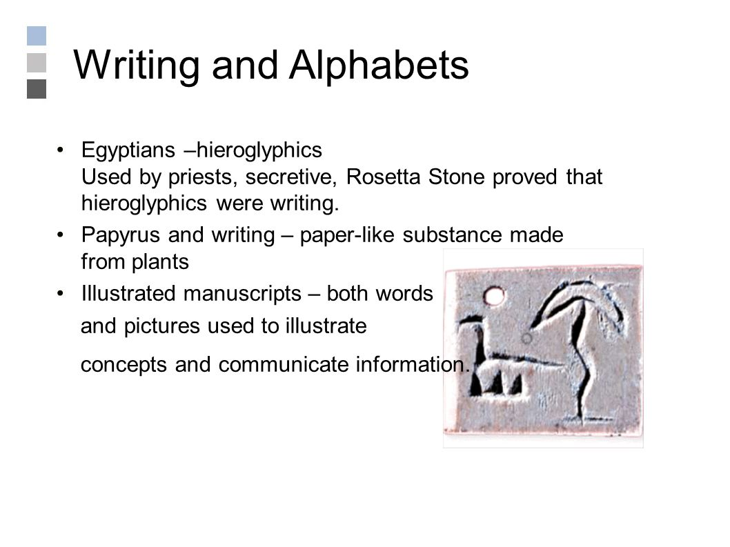 Writing and Alphabets Egyptians –hieroglyphics Used by priests, secretive, Rosetta Stone proved that hieroglyphics were writing.