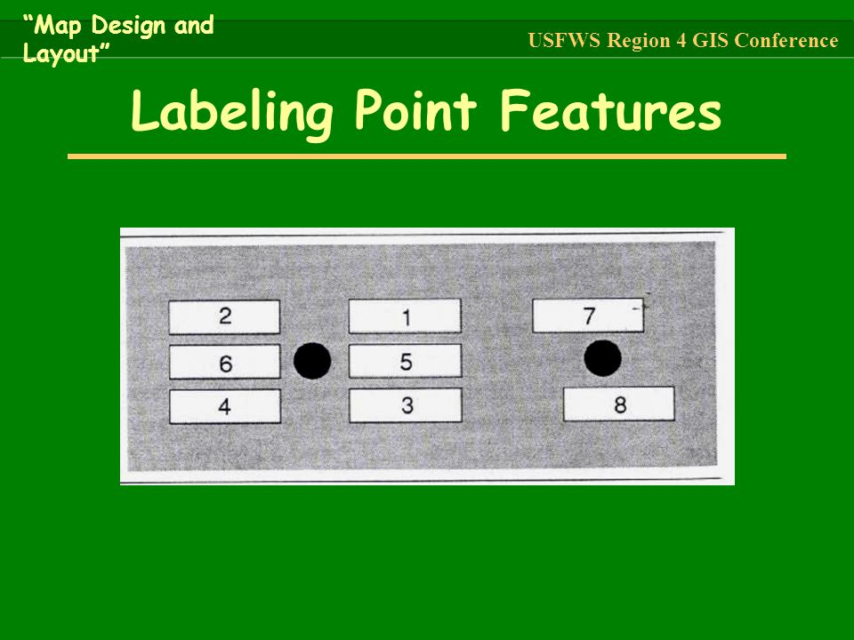 """Labeling Point Features """"Map Design and Layout"""" USFWS Region 4 GIS Conference"""
