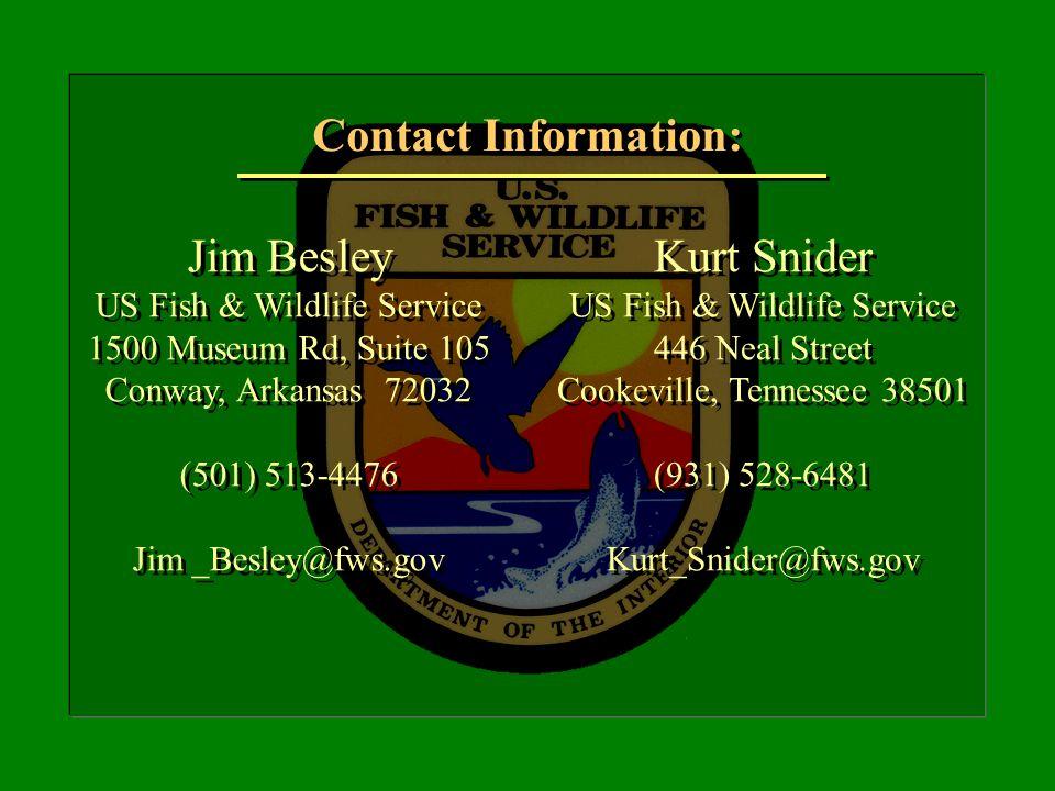 Jim Besley US Fish & Wildlife Service 1500 Museum Rd, Suite 105 Conway, Arkansas 72032 (501) 513-4476 Jim _Besley@fws.gov Jim Besley US Fish & Wildlif
