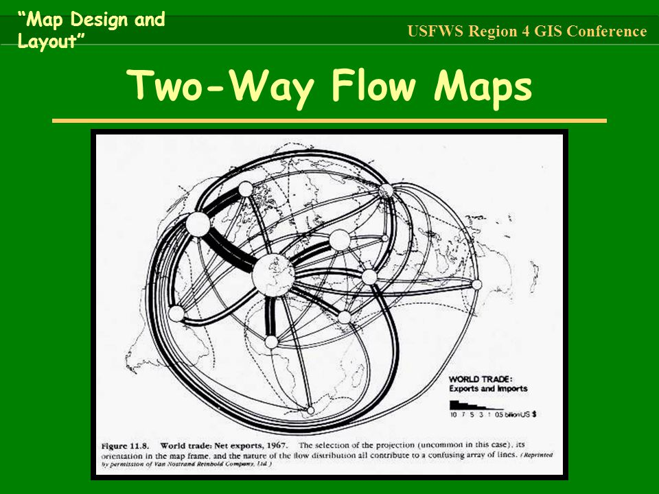 """Two-Way Flow Maps """"Map Design and Layout"""" USFWS Region 4 GIS Conference"""