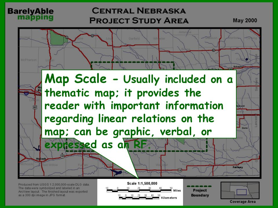 Map Scale - Usually included on a thematic map; it provides the reader with important information regarding linear relations on the map; can be graphi