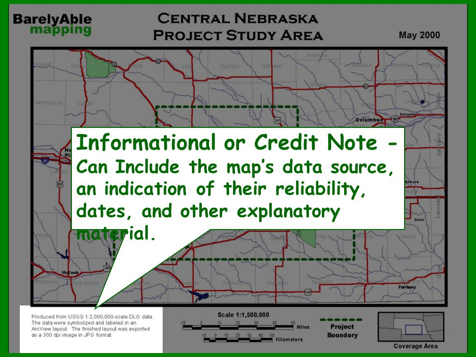 Informational or Credit Note - Can Include the map's data source, an indication of their reliability, dates, and other explanatory material.