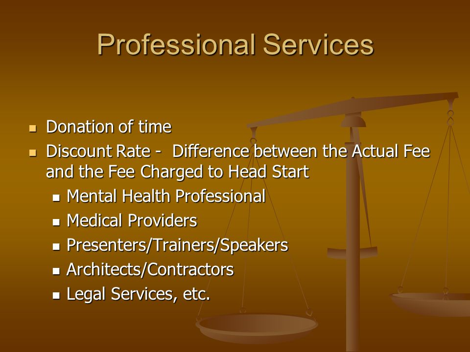 Professional Services Donation of time Donation of time Discount Rate - Difference between the Actual Fee and the Fee Charged to Head Start Discount R