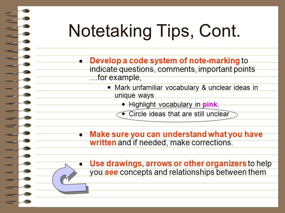  Develop a code system of note-marking to indicate questions, comments, important points …for example,  Mark unfamiliar vocabulary & unclear ideas in unique ways  Highlight vocabulary in pink.