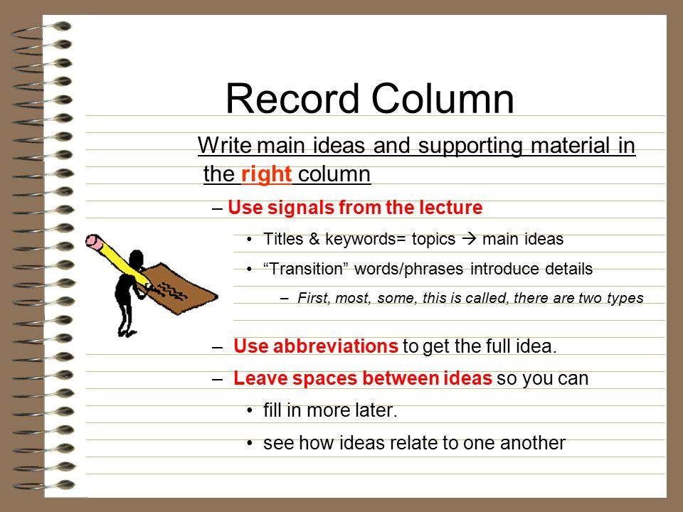 "Record Column Write main ideas and supporting material in the right column – Use signals from the lecture Titles & keywords= topics  main ideas ""Tran"