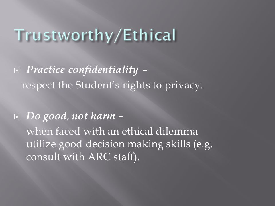 Practice confidentiality – respect the Student's rights to privacy.