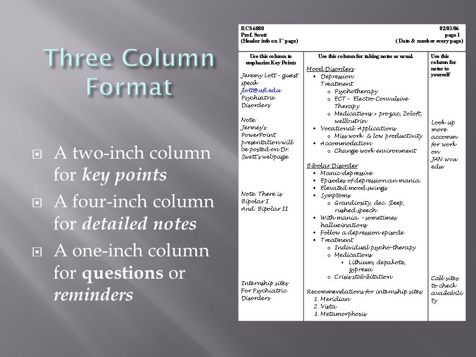  A two-inch column for key points  A four-inch column for detailed notes  A one-inch column for questions or reminders