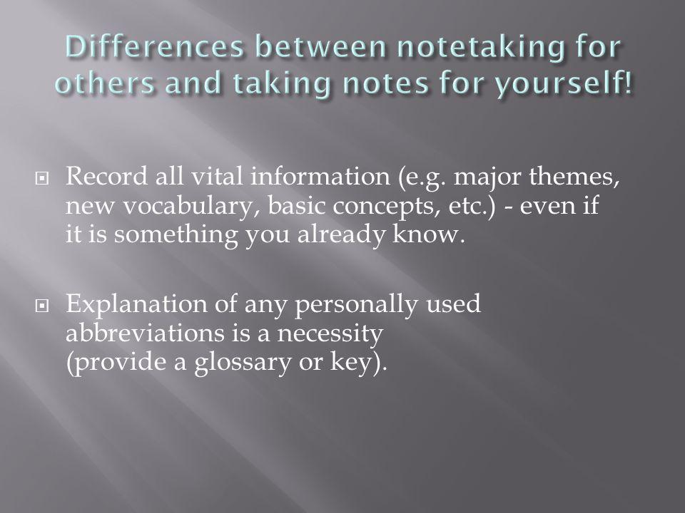  Record all vital information (e.g.