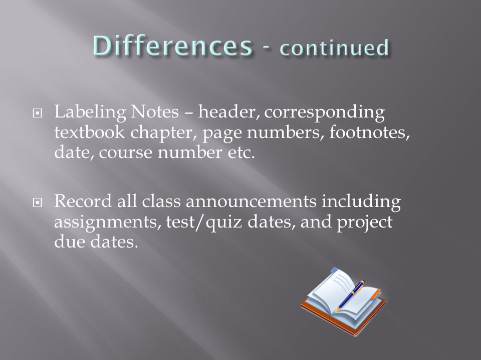  Labeling Notes – header, corresponding textbook chapter, page numbers, footnotes, date, course number etc.