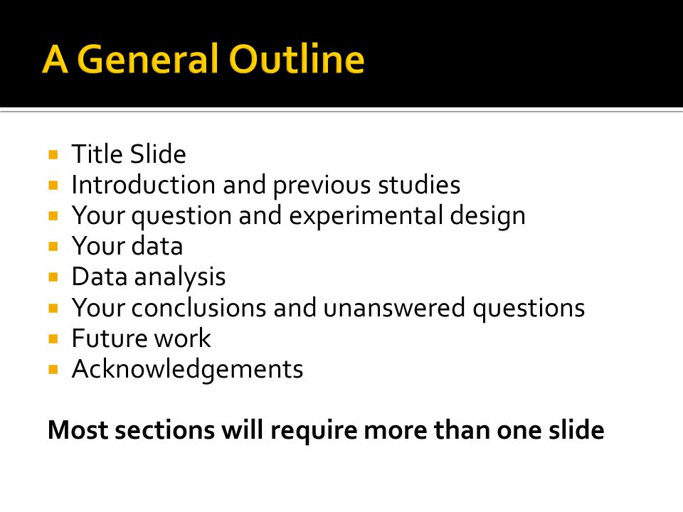  Title Slide  Introduction and previous studies  Your question and experimental design  Your data  Data analysis  Your conclusions and unanswere