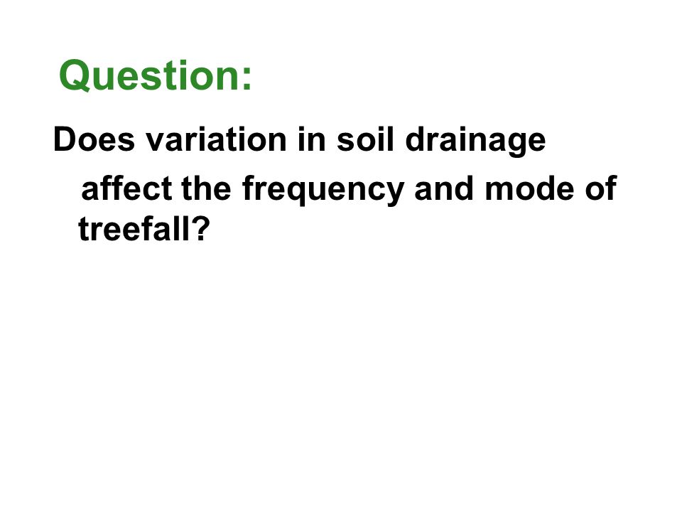 Conclusions: (summarize the results and draw an encompassing conclusion in the context of your introduction e.g., climate change, restoration ecology, spatial dynamics of fragmentation) Soil drainage impacts treefall frequency, but not mode of treefall.