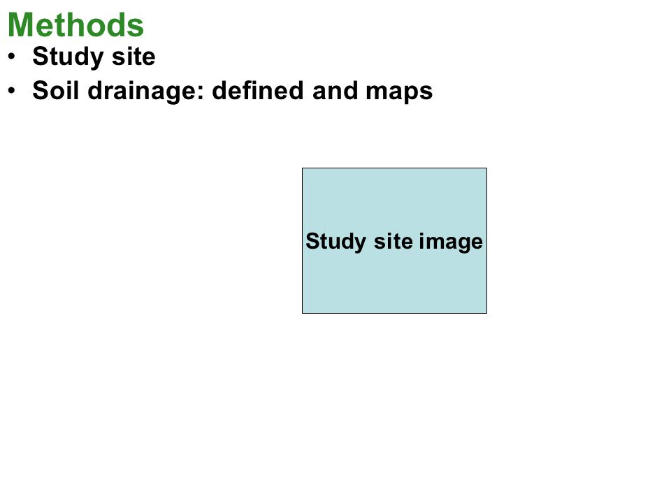 Methods Study site Soil drainage: defined and maps Study site image