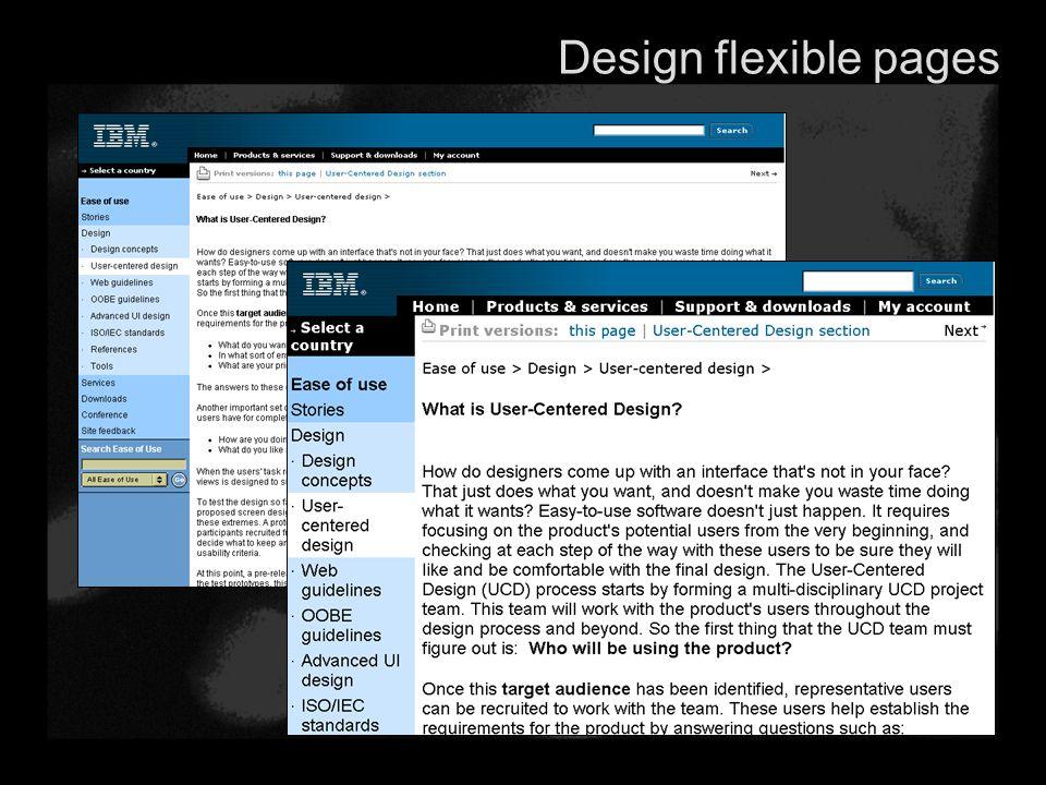 Design flexible pages