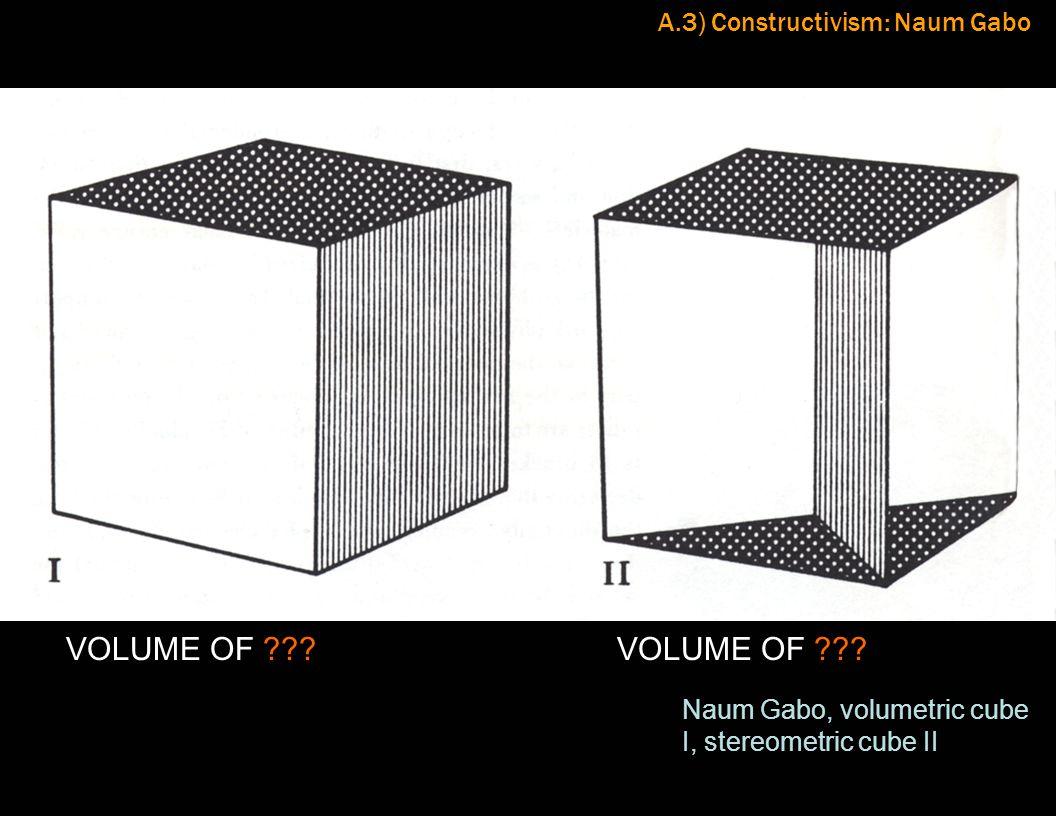 A.3) Constructivism: Naum Gabo Naum Gabo, volumetric cube I, stereometric cube II VOLUME OF