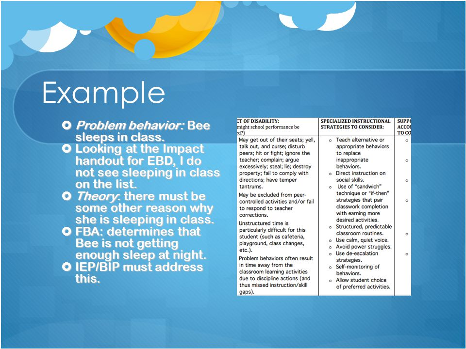Example  Problem behavior: Bee sleeps in class.