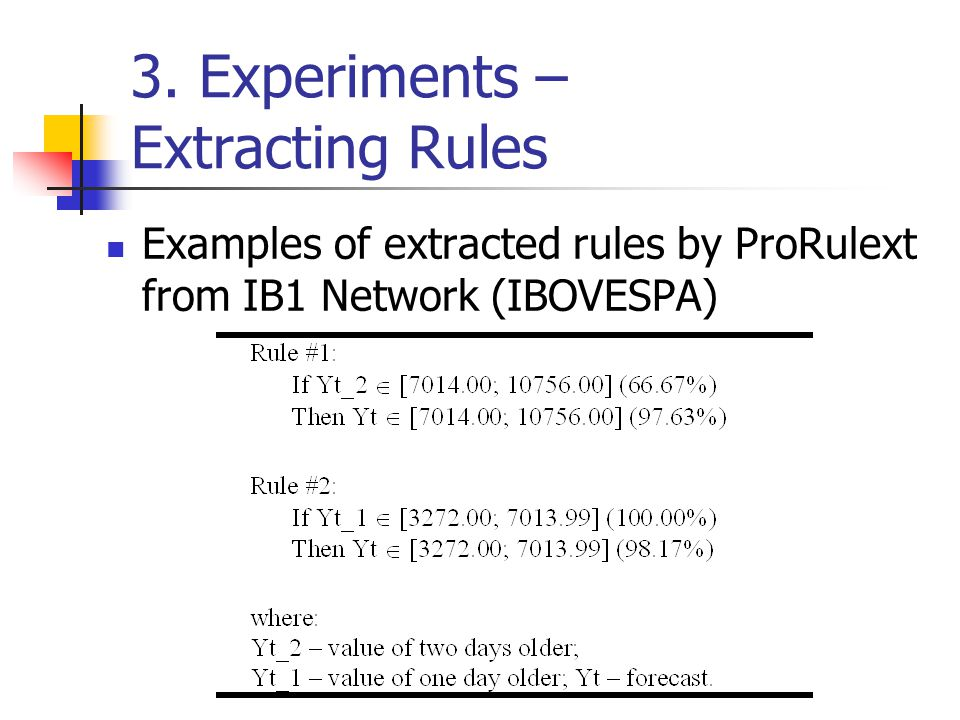 3. Experiments – Extracting Rules Examples of extracted rules by ProRulext from IB1 Network (IBOVESPA)