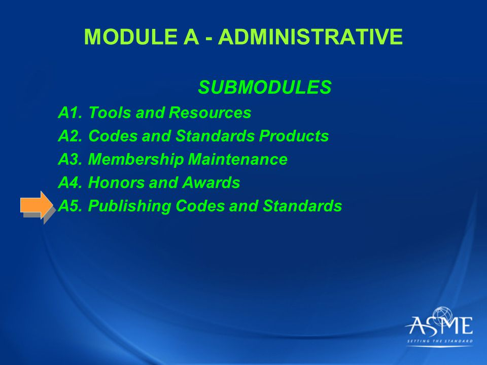 MODULE A - ADMINISTRATIVE SUBMODULES A1. Tools and Resources A2.