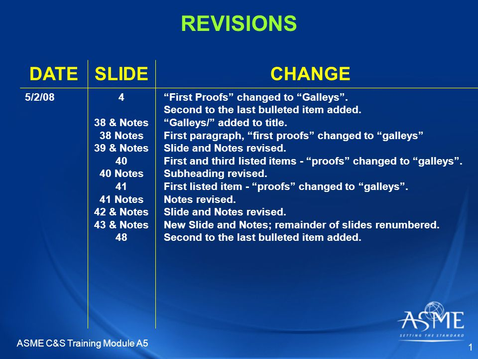 ASME C&S Training Module A5 1 REVISIONS CHANGESLIDEDATE First Proofs changed to Galleys .