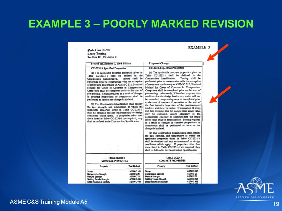 ASME C&S Training Module A5 19 EXAMPLE 3 – POORLY MARKED REVISION