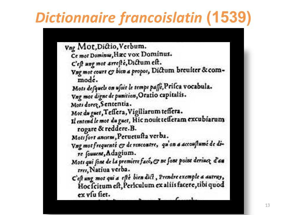 Dictionnaire francoislatin (1539) 13