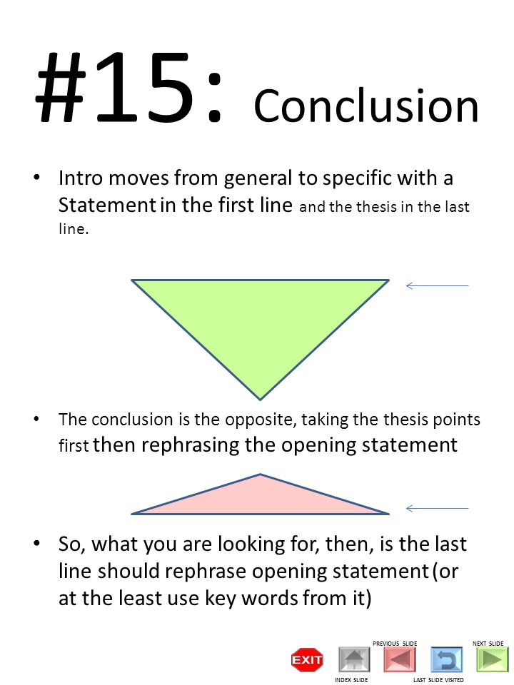 #15: Conclusion Intro moves from general to specific with a Statement in the first line and the thesis in the last line.