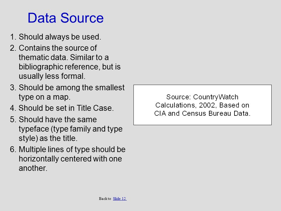 Data Source 1.Should always be used. 2.Contains the source of thematic data. Similar to a bibliographic reference, but is usually less formal. 3.Shoul