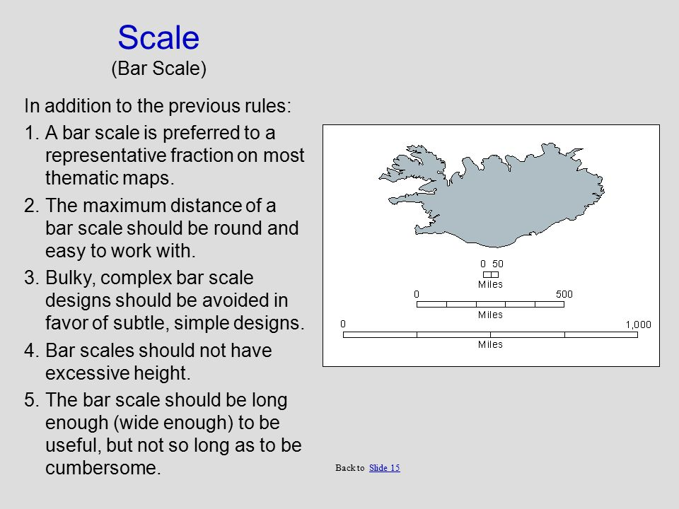 Scale (Bar Scale) In addition to the previous rules: 1.A bar scale is preferred to a representative fraction on most thematic maps.