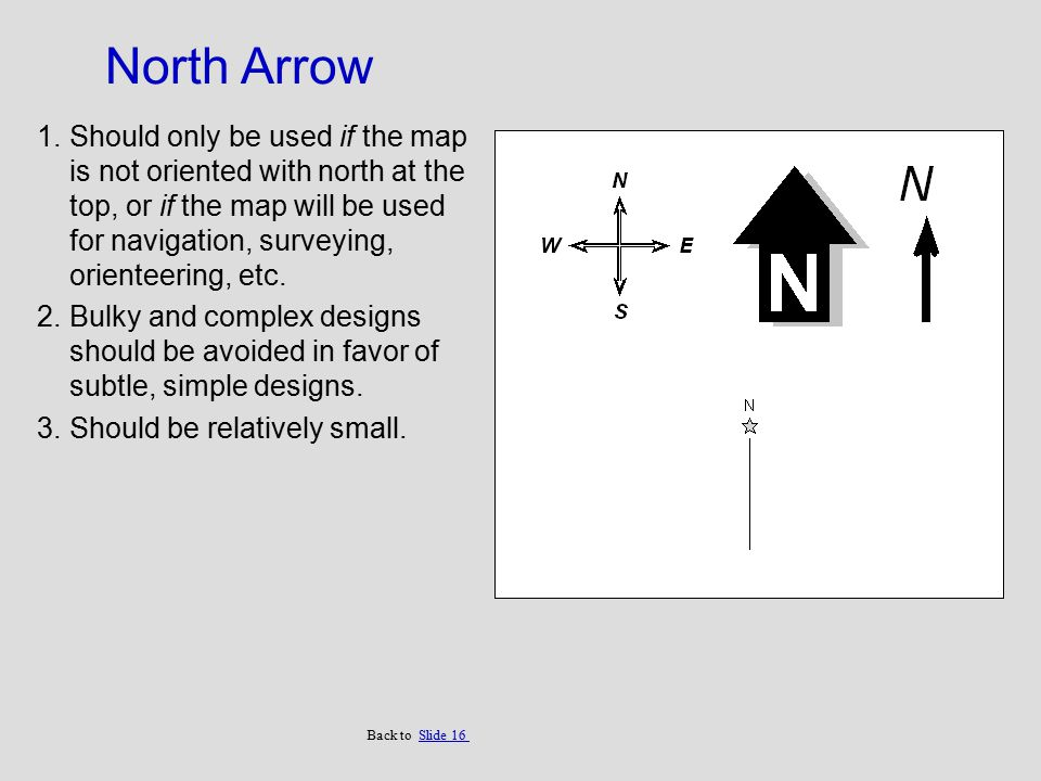 North Arrow 1.Should only be used if the map is not oriented with north at the top, or if the map will be used for navigation, surveying, orienteering, etc.