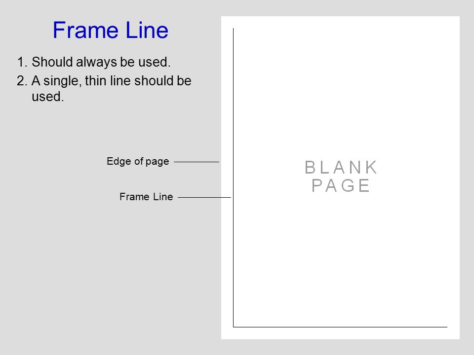 Frame Line 1.Should always be used. 2.A single, thin line should be used. Edge of page Frame Line