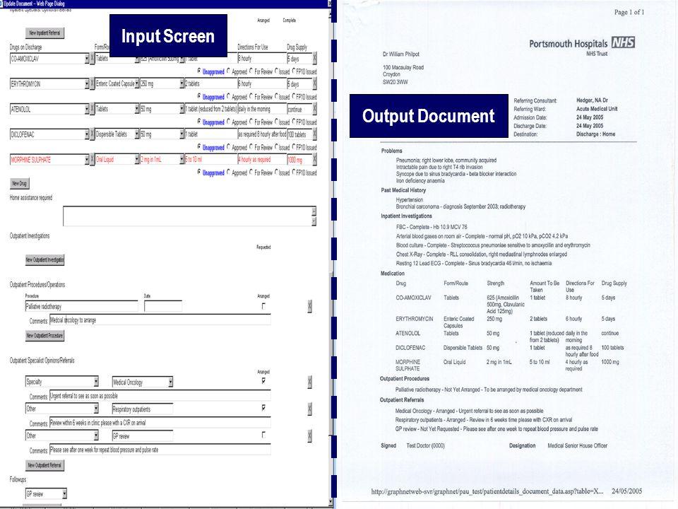 Input Screen Output Document