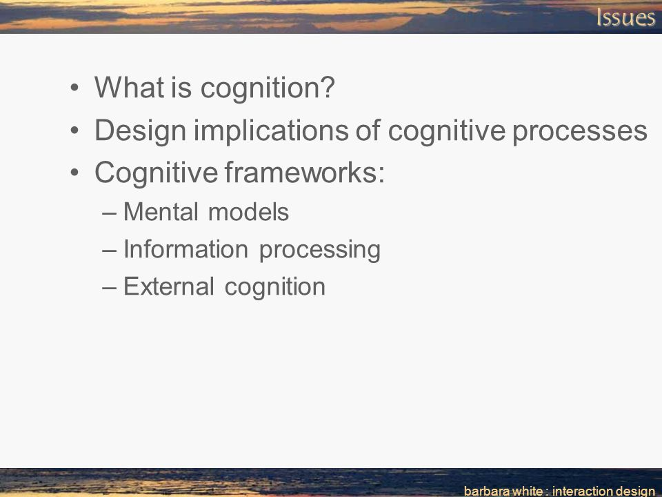 barbara white : interaction designIssues What is cognition.