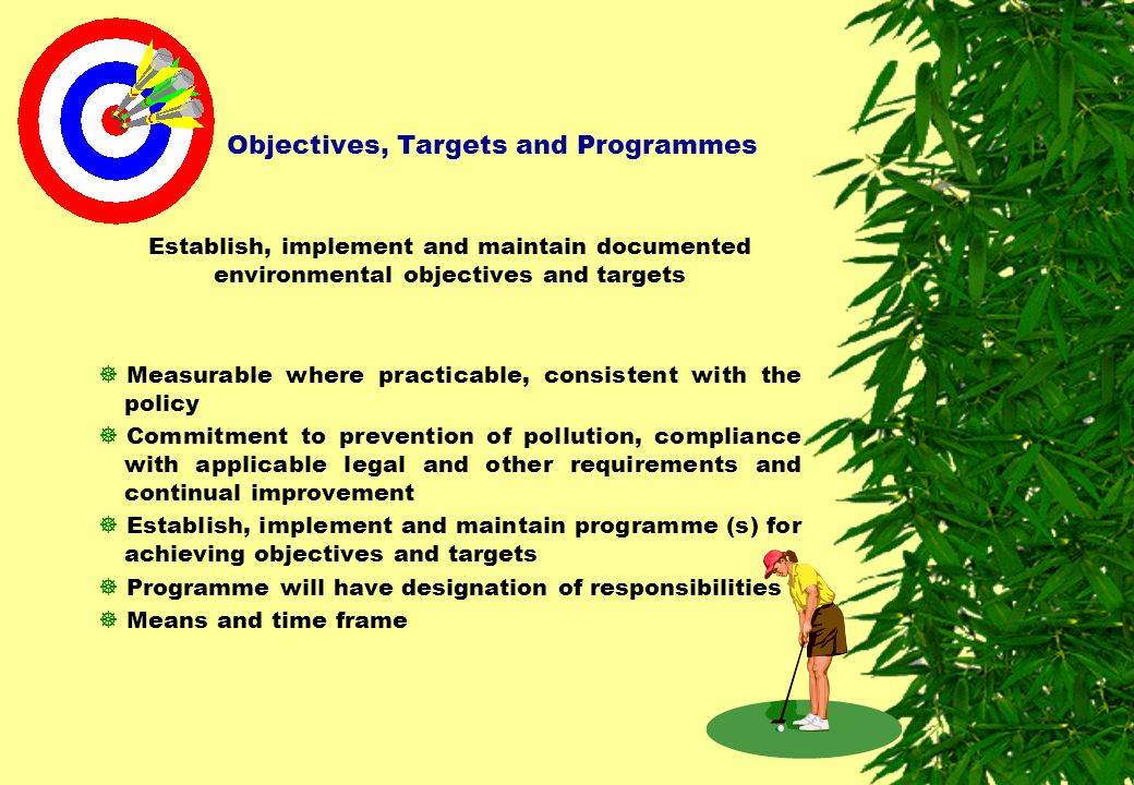 Objectives, Targets and Programmes Establish, implement and maintain documented environmental objectives and targets  Measurable where practicable, c